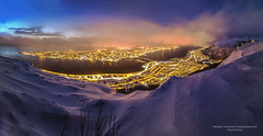 Winter storm; Tromsø Panorama (Sander Meertins | Frame-d.nl) Tags: tromso snow winter europe nordic landscape cold nature north outdoor norway arctic tourism scenic mountains scenery island bay travel fjord dusk twilight sunset winterstorm snowstorm storm weather city panorama overview panoramic dark lights evening skyline view clouds