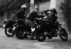Having Some Fun (F051) Tags: biker bikers motorcycle leatherjacket topgun blackandwhite blancoynegro highcontrast altocontraste roadtrip motociclista motociclistas nikon nikkor 50mm 18 f18 d100 fun funny