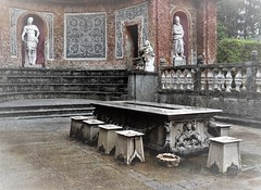 the infamous dining table (SM Tham) Tags: europe austria salzburg hellbrunn palace gardens folly outdoor dining table stools wall niches statues balustrade steps waterfeature fountain wet