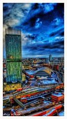 Deansgate And Castlefield On A Winters Morning. (DaveMo2017) Tags: thehilton manchester castlefield tram train cityscape city urban snow colour cloud construction skyscraper skyline sky hdr building tall road gmex cold