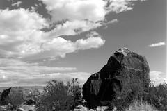 Tahquitz Canyon Boulder (bac1967) Tags: canyon tahquitzcanyon palmsprings palmspringsca palmspringscalifornia california ca kodak tmx tmax kodaktmx kodaktmax kodaktmx100 black white blackandwhite blackandwhitefilm blackwhite bw monochrome monotone kodakmedalist 620 620film landscape clouds boulder rock rockformation sky sagebrush tahquitz cahuilla caliente aguacaliente irrigationditch beerol beerenol pabstblueribbonbeer caffenol