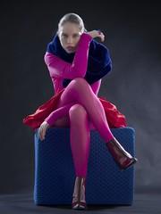 Model: Nathalie Bollen (AmandaGuness) Tags: hasselblad haarlem studio photostudio shoot portrait model models fashion portret photoshoot photography colour color blue magenta red profoto beauty female plastic boots tights skirt outfit photographer
