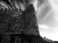 Mamure Castle - Anamur (ErdenizS) Tags: castle historical mediterranean medieval ancient ruin fort wall sky clouds bw blackandwhite anamur turkey olympus pen ep3 panasonic14mm25 dramatic