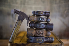 Lean On Me (jah32) Tags: hammer hammers tools crate wood weatheredwood weathered bokeh selectivefocus vintage vintagetools ballpeenhammers claw clawhammer thor antique findingmyinnercarpenter stilllife tabletop table onthetable inthebasement