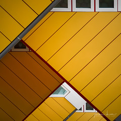 Yellow Submarine I (Alec Lux) Tags: pietblom rotterdam architecture building city cube cubism design detail details fragment fragments geometric geometry hexagon holland house houses kaleidoscope kubuswoningen netherlands structure urban water