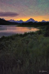 Outtake at Oxbow Bend (Rajesh Jyothiswaran) Tags: teton tetons mt moran grand jackson hole wildlife bison sunset clouds park parks west western art wyoming serene landscape field outdoor skyline sky plant grass water mountain historic dawn reflection glow beautiful colorful night nightscape astrophotography starry stars airglow oxbow bend snake river usa united states america