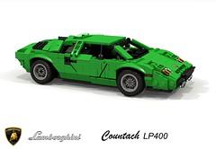 Lamborghini Countach LP400 (1974) (lego911) Tags: lamborghini countach lp400 1974 coupe supercar 1970s classic bertone scissor v12 italy italian auto car moc model miniland lego lego911 ldd render cad povray marcello gandini white whale foitsop