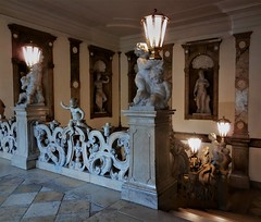 the grand staircase (SM Tham) Tags: europe austria salzburg mirabellpalace building interior staircase marble sculpture statues cherubs balustrade lights lamps niches