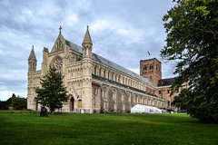 Saint Albans Cathedral - Saint Albans, Hertfordshire (MikeTheExplorer) Tags: saintalbans stalbans hertfordshire herts architecture street streets streetphotography building buildings travel traveling traveler explore exploring exploration urbanexploration travelling traveller wanderlust europe discover discovering discovery nikon nikond3100 d3100 dslr camera 1855mm lens clouds cloudy rainy day autumn fall colour colourful colours bright light contrast perspective angle composition city town abbey church cathedral park field tree grassfield historic english british heritage