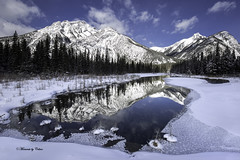 Ice Mirror! (Canon Queen Rocks (2,090,000 + views)) Tags: ice sky scenery scenic snow water winter reflections mountains mountain mountainpeak mountainside frozen kananaskis alberta clouds canada bluesky blues trees momentsbycelinecom rockies nature landscape mt laurette tree march
