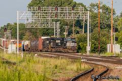 NS 9076 | GE C40-9W | BNSF Thayer South Subdivision (M.J. Scanlon) Tags: ns9076 ge c409w ns norfolksouthern bnsf bnsfrailway bnsfthayersouthsub cn cnmemphissub canadiannational rjy30 cnrjy30 cnjunction signal signals signalbridge tree sky digital merchandise commerce business wow haul outdoor outdoors move mover moving scanlon mojo canon eos engine locomotive rail railroad railway train track horsepower logistics railfanning steel wheels photo photography photographer photograph capture picture trains railfan