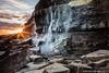 Waterfall 2 (RJ Photographic (900,000 views Thank You)) Tags: kimmeridge sunset waves bay clouds longexposure lowtide rocks sea seascape water hobarrow outdoors