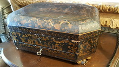 """CHINESE LACQUERED SEWING ETUI CASKET WITH BONE ACCOUTREMENTS.  $650. • <a style=""""font-size:0.8em;"""" href=""""http://www.flickr.com/photos/51721355@N02/38935157184/"""" target=""""_blank"""">View on Flickr</a>"""