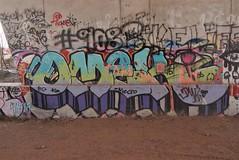 OMEK (TheGraffitiHunters) Tags: graffiti graff spray paint street art colorful nj new jersey cement wall trackside omek