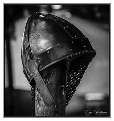 Viking Helmet (timgoodacre) Tags: viking vikingencampment vikinghelmet history historical blackwhite blackandwhite chainmail helmet