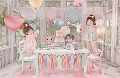 Let's have tea & some cake... (Chelsea Noele Knight) Tags: tea party girl dress dolls cake pink blue