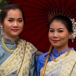 Thai People in Traditional Dress Waiting to Join the Chiang Mai Flower Festival Parade 187 thumbnail