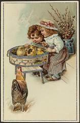 Påskekort (National Library of Norway) Tags: nasjonalbiblioteket nationallibraryofnorway postkort postcards påskekort påske easter eastercards høytider barn children høner kyllinger chickens påskekyllinger