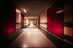 Through the corridors of my mind (Explored) (G. Postlethwaite esq.) Tags: derby derbyshire royalderbyhospital corridor photoborder
