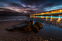 Natural vs Artificial Light - Hastings - Sussex (E_W_Photo) Tags: hastings sussex eastsussex uk england sunset clouds longexposure reflection promenade lights beach sand pool rocks sea canon 80d sigma 1020mm leefilters