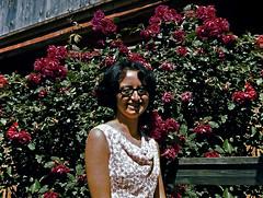mamma ad Alpbach - 1965 (dindolina) Tags: photo fotografia color diapositiva portrait ritratto marialaviniabovelli alpbach rose flower family famiglia history storia vacation vacanze summer estate montagna mountain 1965 1960s sixties annisessanta vintage austria tirolo tyrol