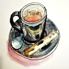 Café. (cecile_halbert) Tags: dessin croquis aquarelle encre carnet cafe coffee cup draw drawing watercolor ink art artist journal diary sketch sketching sketcher stilllife naturemorte