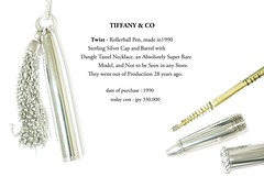 """TIFFANY & CO """" Twist """" - Rollerball Pen, made in 1990. Produced in Germany. Sterling Silver Cap and Barrel with Dangle Tassel, Necklace is 30"""" long. an Absolutely Super Rare Model, and Not to be Seen in any Store. They went out of Production 28 years ago. (Web & Graphic Design.) Tags: cartier hermes stdupont huntingworld vintageswatch louisvuitton tiffanyco rondepersonalline mustdecartier bluesapphirecabochon quartzmovement alarmfunction artdeco watch clock elegant maharadjah hammerpocketlighter goldplate 18k limitededition serialnumber luggage accessories crocodileskinstrap deployantbuckle waterresistant3atm pasha tankamericainechronograph rectangularcurvedcase diabolo ardillonbuckle sportabout moonphase 4flagsgs100 rollerballpointpen anouskahempel designinspired sterlingsilver925 twist panthere goldplaqueorg trinityrings extremelyrarehighlycollectible particularmodel launch purchase sothebys christies auctions vintage preowned jewellery classics collection antique collector panasoniclumixdmcgf1 necklace caratcushion shapedcut emeraldonyx brilliantcut platinum brass motherpearl pittiimmagineuomo fountainpen cartierballpointpen cartierrollerballpointpen ballpointpen chain"""