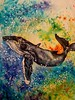 Breach Splashdown (entwoman) Tags: watercolorcrystals watercolor gouache brusho painting whale breach splash ocean