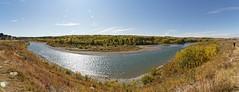 A gorgeous autumn day (bichane) Tags: gorgeous beautiful autumn fall day panorama bow river trees cochrane alberta colour
