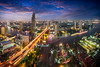 Bangkok city skyline at dusk, Bangkok Thailand (Patrick Foto ;)) Tags: apartment architecture asia bangkok blue blur building business city cityscape clouds condominium district downtown dusk evening front grass high hotel landscape light logistic modern night office panorama park pool port reflection residence river road roof shadow sky skyline skyscraper street symmetric thailand tower town travel tropical urban view waterfront way krungthepmahanakhon th