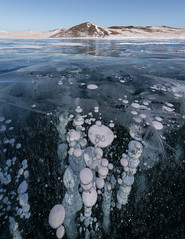 Methane Bubbles (Andrew G Robertson) Tags: lake baikal siberia russia methane bubble ice panorama vertical focus stack