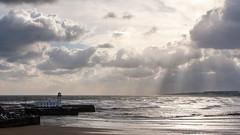 Scarborough South Bay (Derwisz) Tags: scarborough southbay sea seaside seafront water skyline light sunlight clouds yorkshire england englandseastcoast coast rays uk unitedkingdom canon canoneos40d seascape landscape