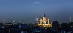 New Year Eve Firework in the neighbourhood - West Jakarta, Indonesia. (S.T.Chang) Tags: indonesia jakarta newyeareve night nightscene jakartabarat westjakarta church firework blue darkblue light panorama panoramic