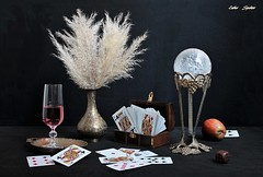 Winter Games (Esther Spektor - Thanks for 12+millions views..) Tags: stilllife naturemorte bodegon naturezamorta stilleben naturamorta composition creativephotography art winter game tabletop bouquet cards apple goblet winr vase box stand ball tray dice paper metal glass brass ambientlight reflection white red golden brown black estherspektor canon