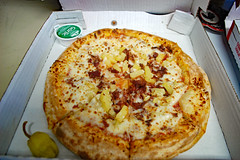 Papa John's Pizza. (dccradio) Tags: lumberton nc northcarolina robesoncounty inside indoors food eat meal meat lunch dinner supper nikon d40 dslr cheese meltedcheese pizza pizzapie crust box pizzabox cardboard pineapple fruit bacon pepperoncini garlicbutter butter papajohns mediumpizza round circle