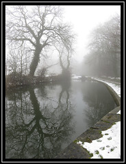Leaning To Reflect More (M E For Bees (Was Margaret Edge The Bee Girl)) Tags: chesterfieldcanal syorkshire winter snow black white trees bare reflections towpath water branches leaning lock stone outdoors countyside canon grey sky cold
