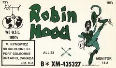 Robin Hood - Port Colborne, Ontario (73sand88s by Cardboard America) Tags: qsl cb cbradio vintage qslcard ontario fairytale robinhood