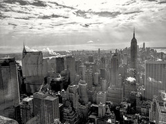 New York City skyline with urban skyscrapers in B&W (elnina999) Tags: architecture buildings cityscape newyork newyorkcity blackandwhile skyline panorama skyscrapers