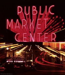Public Market - Neon - Seattle (Electric Crayon) Tags: publicmarket pacificnorthwest washingtonstate kingcounty seattle pikeplace neon zoom 35mm film kodak kodachrome minolta usa unitedstates america electriccrayon patrickmcmanus