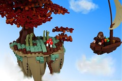 Isles of Aura: 'Shrooms! (jsnyder002) Tags: lego creation moc build ioa isles aura boat sail brickbuilt tree foliage autumn fall rock floating mushrooms
