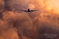 Qantas Airbus A330-202, Reg. VH-EBE 'Kangaroo Valley' Sunset wake vortices. (ePixel Images) Tags: qantas airbus airbusa330202 vhebe kangaroovalley qf598 cloud sunset wakevortices brisbane bne