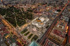 Palacio de bellas Artes, Mexico City (reinaroundtheglobe) Tags: mex cdmx mexico mexicocity palaciodebellasartes highangleview cityshot cityscape buildings citypark longexposure illuminated rushhour