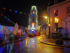 Penryn Lights 5 Oiled (Cornishcarolin. Stupid busy!! xx) Tags: cornwall penryn christmaslights christmas lights town building architecture oil filters oilfilters clock townclock 1001nights