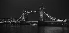 Tower Bridge (Sam Tait) Tags: tower bridge city london road victorian concrete bascule raising deck car england uk night image photography sam tait lack white skyline capital river thames water waterway