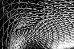 Study: Lines II, Kong's Cross Station, London (f/me) Tags: monochromatic monochrome mono blackandwhite bw minimalism minimalistic less lessismore minimal abstract london kingscross roof steel triangles triangle shapes geometry study lines architecture spiral geometric symmetry
