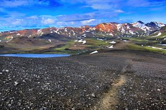 Iceland ~ Landmannalaugar Route ~  Ultramarathon is held on the route each July (Onasill ~ Bill Badzo - 56 Million Views - Thank Yo) Tags: iceland landmannalaugar route trail hiking snow mountain nature sky clouds onasill landmark historic hdr landscape july reykjavík ultramannalaugar outdoor trekking