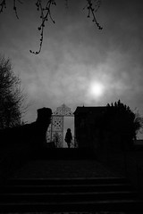 can you hear the moon?~ Germany (~mimo~) Tags: deutschland germany limburganderlahn photography street town urban moon dark blackandwhite mood church sky gate silhouette