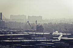 City starts working (donnicky) Tags: saintpetersburg building city cityscape cold daylight factory foggy horizon industrial industry morning nopeople outdoor publicsec sky skyline smoke trees urban winter