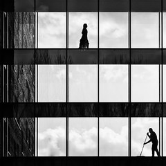 different levels (Leipzig_trifft_Wien) Tags: street streetphoto streetphotography silhouette windows building monochrome contrast black white housekeeping broom person people human life canon urban