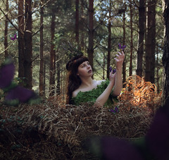 Faewilde (Ruby Hyde) Tags: beautiful girl long hair brunette butterflies purple forest woods woodland foliage sticks trees conceptual fineart fineartphotography art magic surreal surrealism manipulation fairy fae fey ferns leaves winter autumn spring